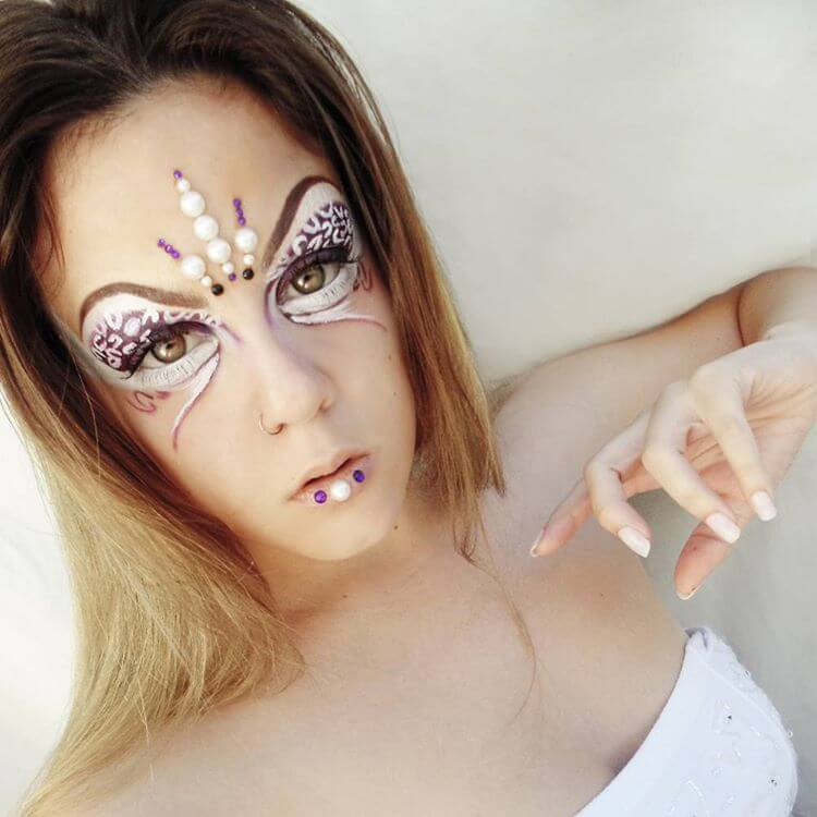 Artistic Makeup Design With Crystals