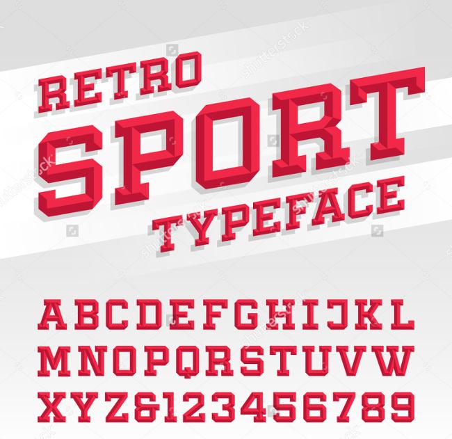 beveled alphabet vector font retro style