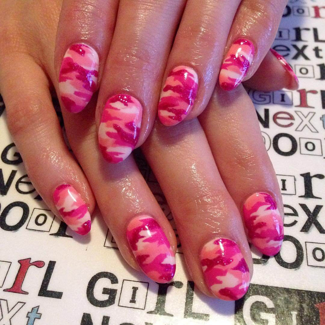 Pink Color Camo Nail Art