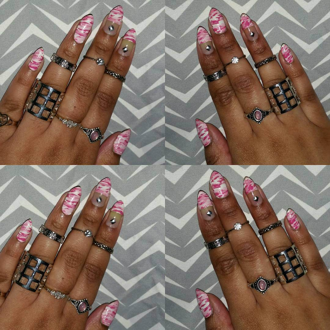 Pretty Pink Camo Nail Design - Dazzling Collection Of Camo Nail Designs Design Trends - Premium