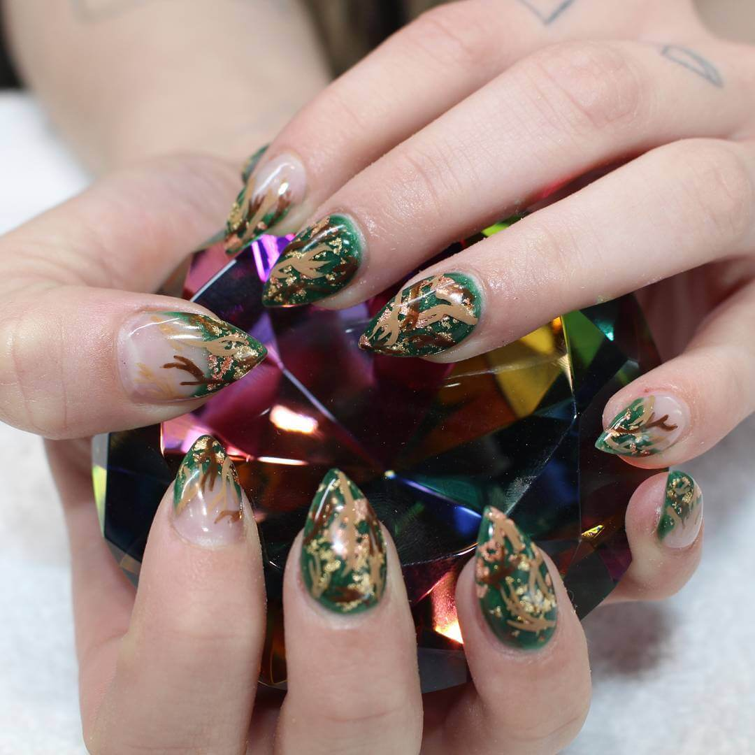 Green Camo Nails with Tree Branches