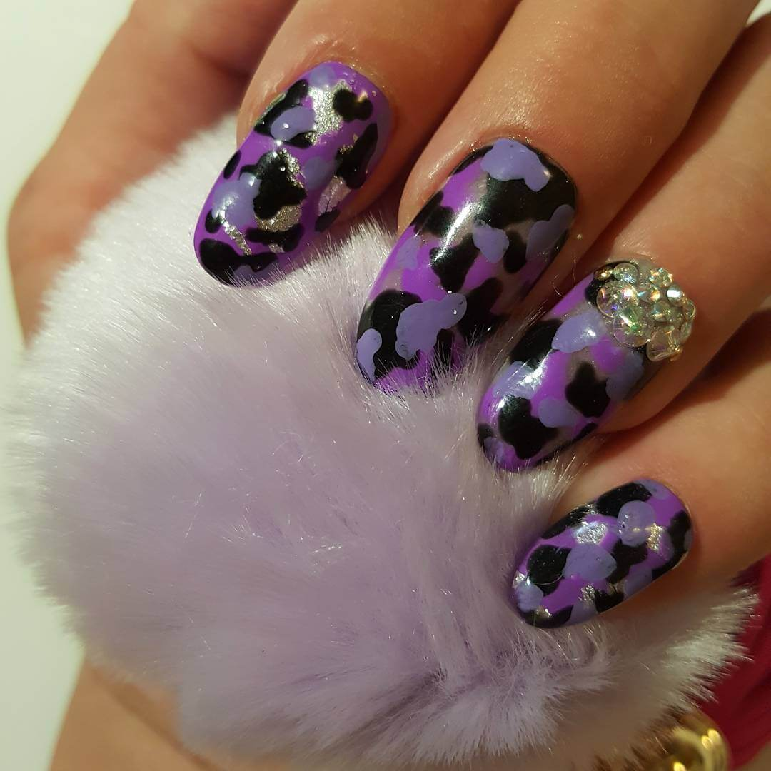 Purple Color Camo Nail Art