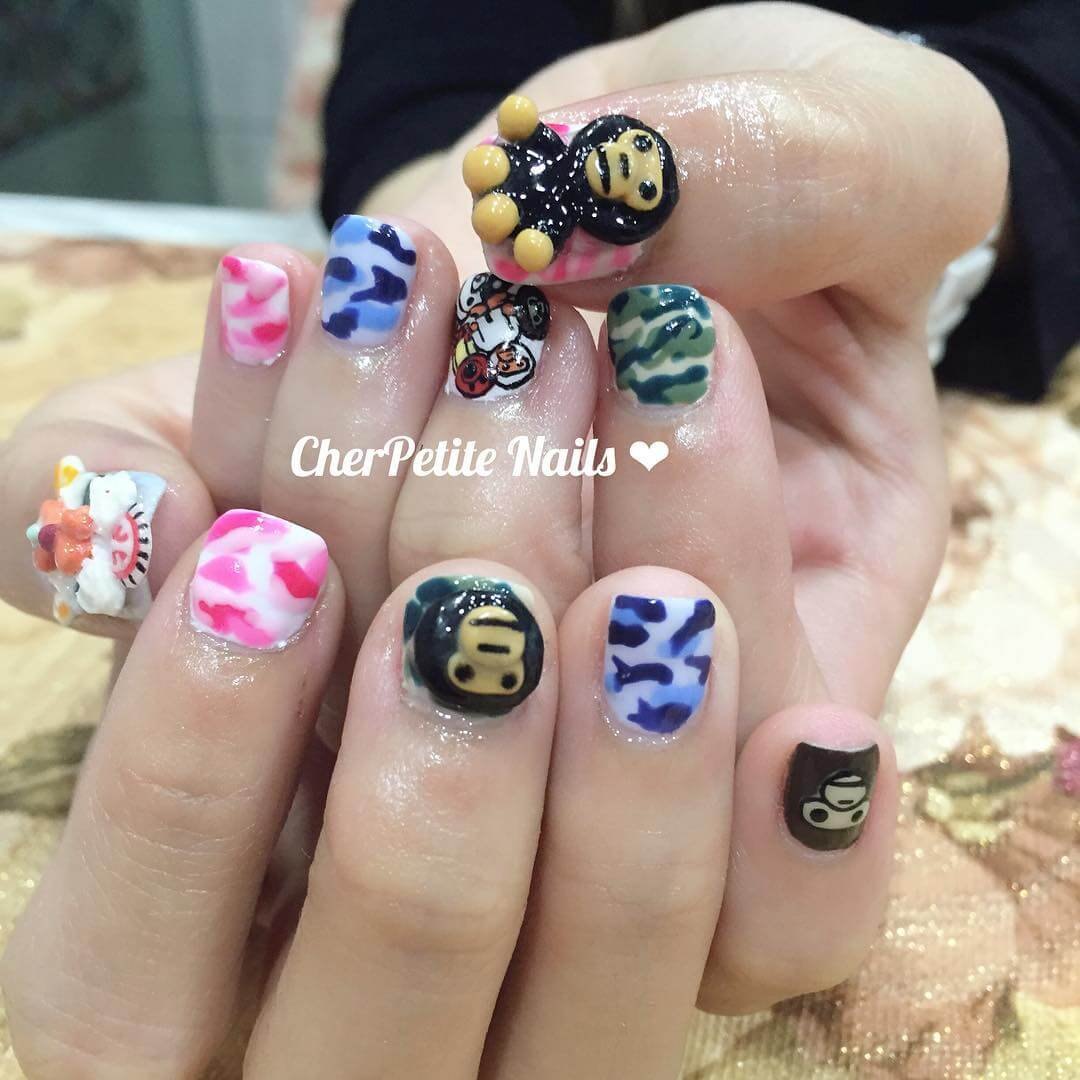 Camo Nail Art Design for Baby Nails