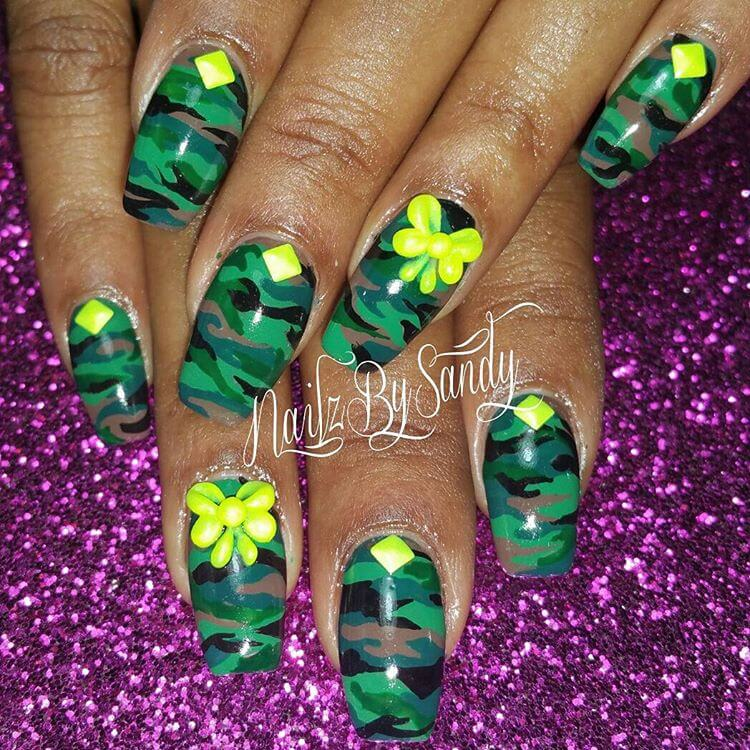 Colorful Camo Nail Design