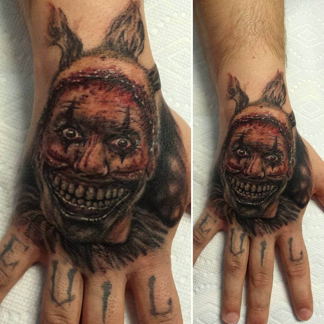 Psycho Clown Tattoo on Palm