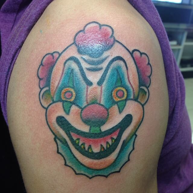 Funny Clown Face Tattoo