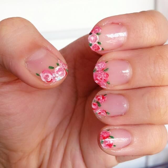 Rose Flower Diy Nail Design (1)