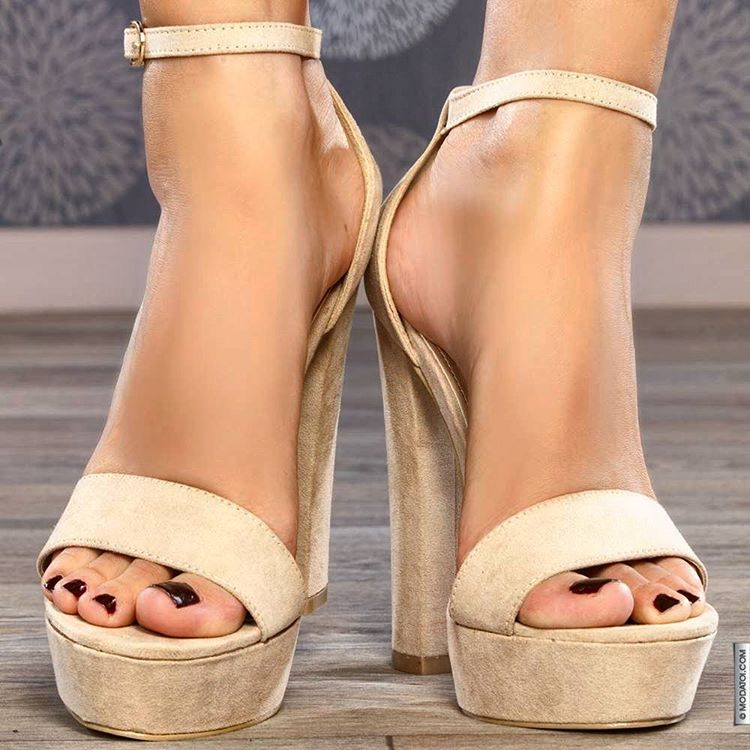 Leather Ankle Strap High Heels