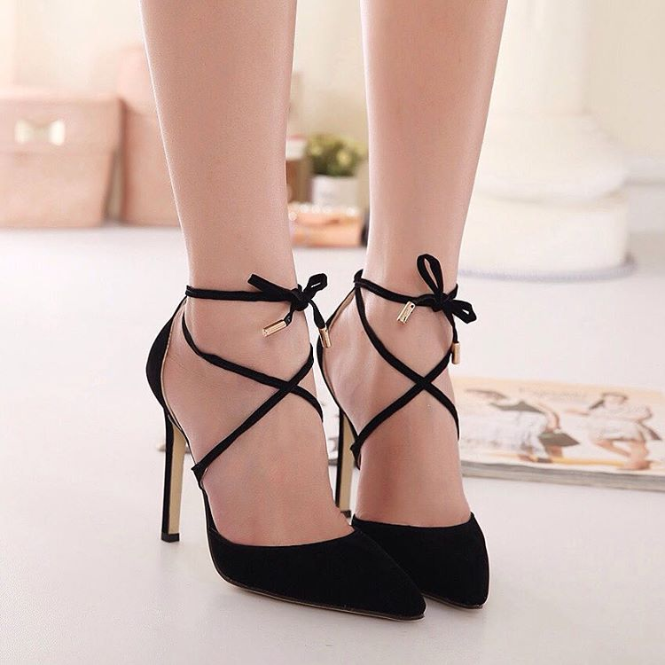 Black Ankle Strap Heels Looks So Cute