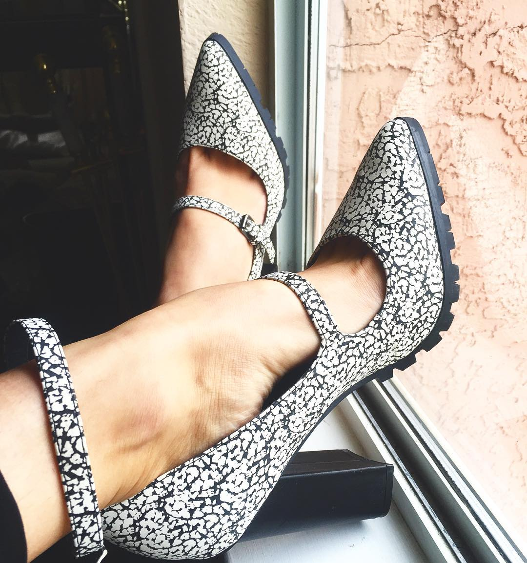 black and white ankle strap shoes