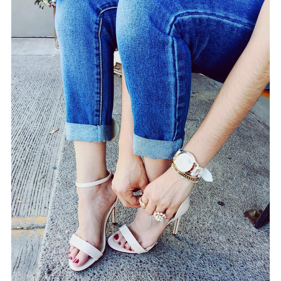 official white strap shoes for young women
