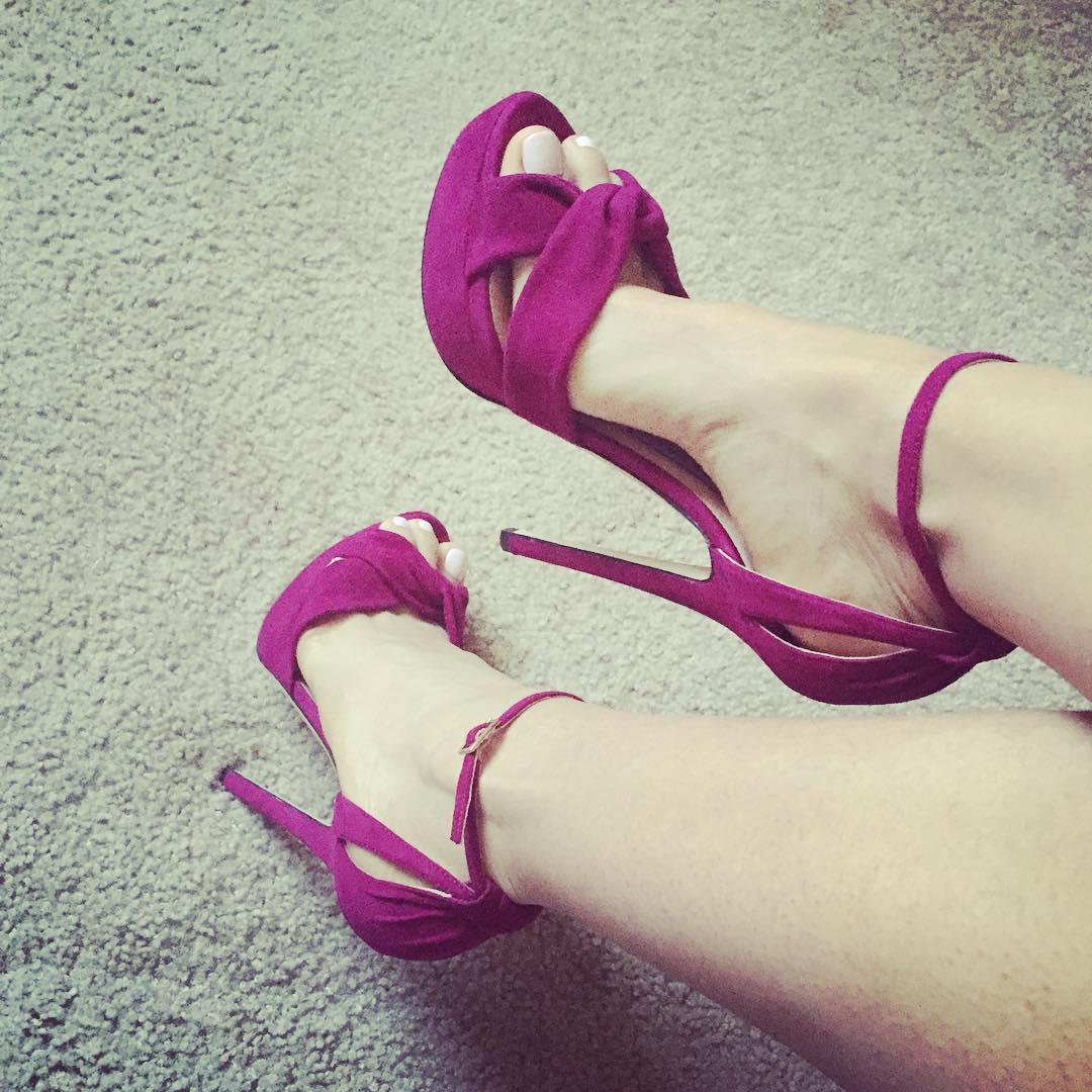 purple ankle strap heel design