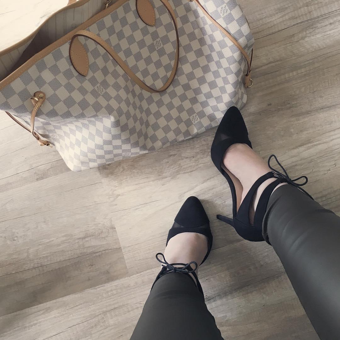 stylish black high heel shoes