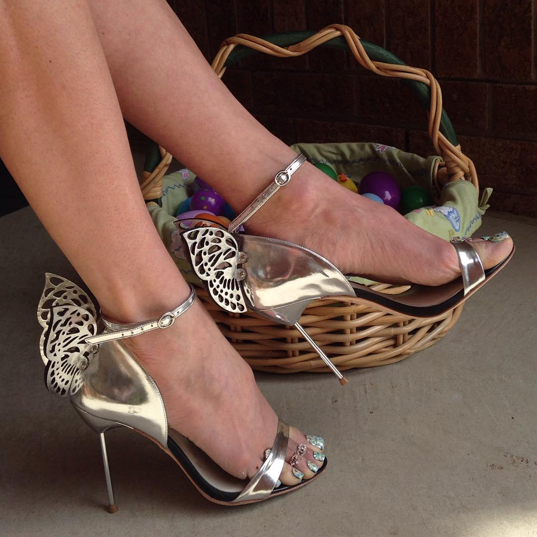 silver butterfly high heels for wedding