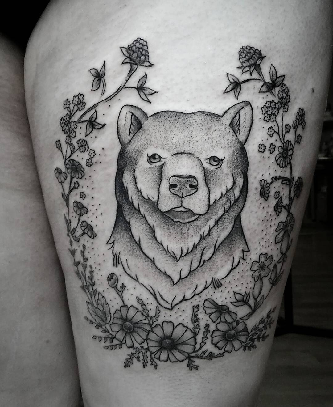 bear tattoo design with flowers