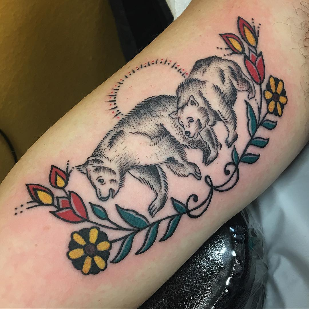 two bears tattoo looks so attractive