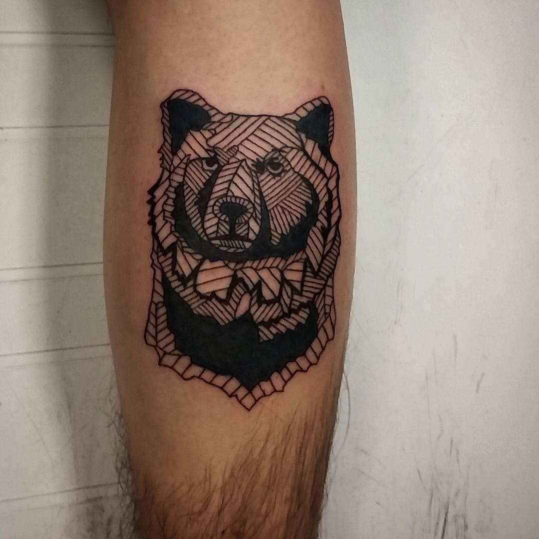 Lines Design Bear Tattoo On Arm