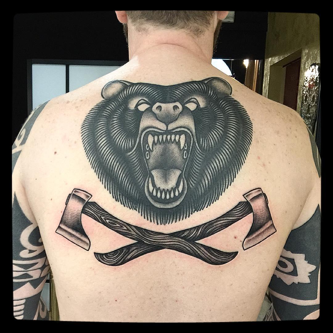 Dark Black Bear Tattoo