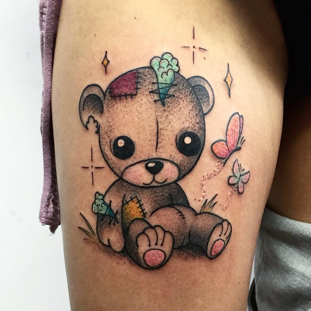 cute bear tattoo with butterfly
