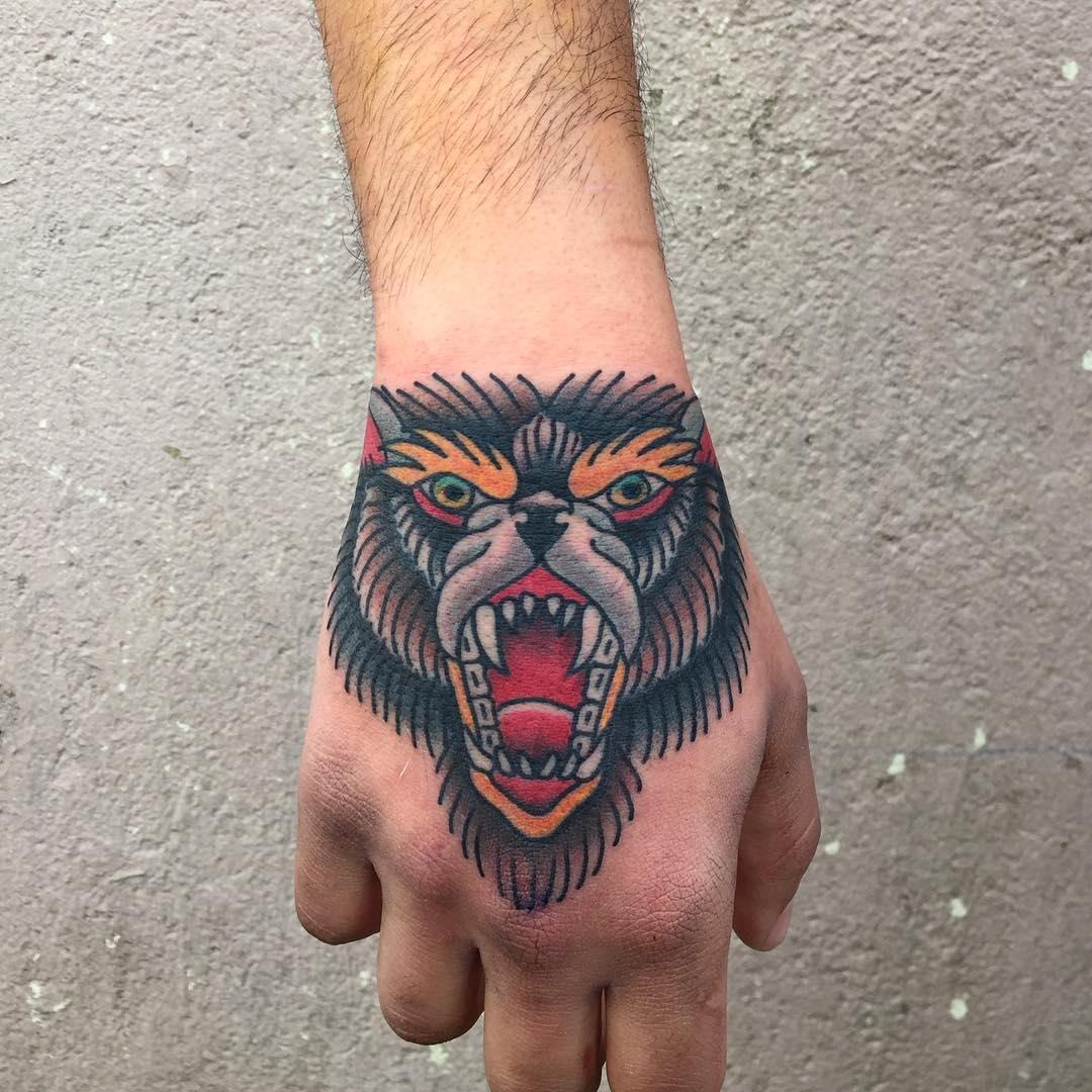 Multi Color Bear Tattoo On White Skin