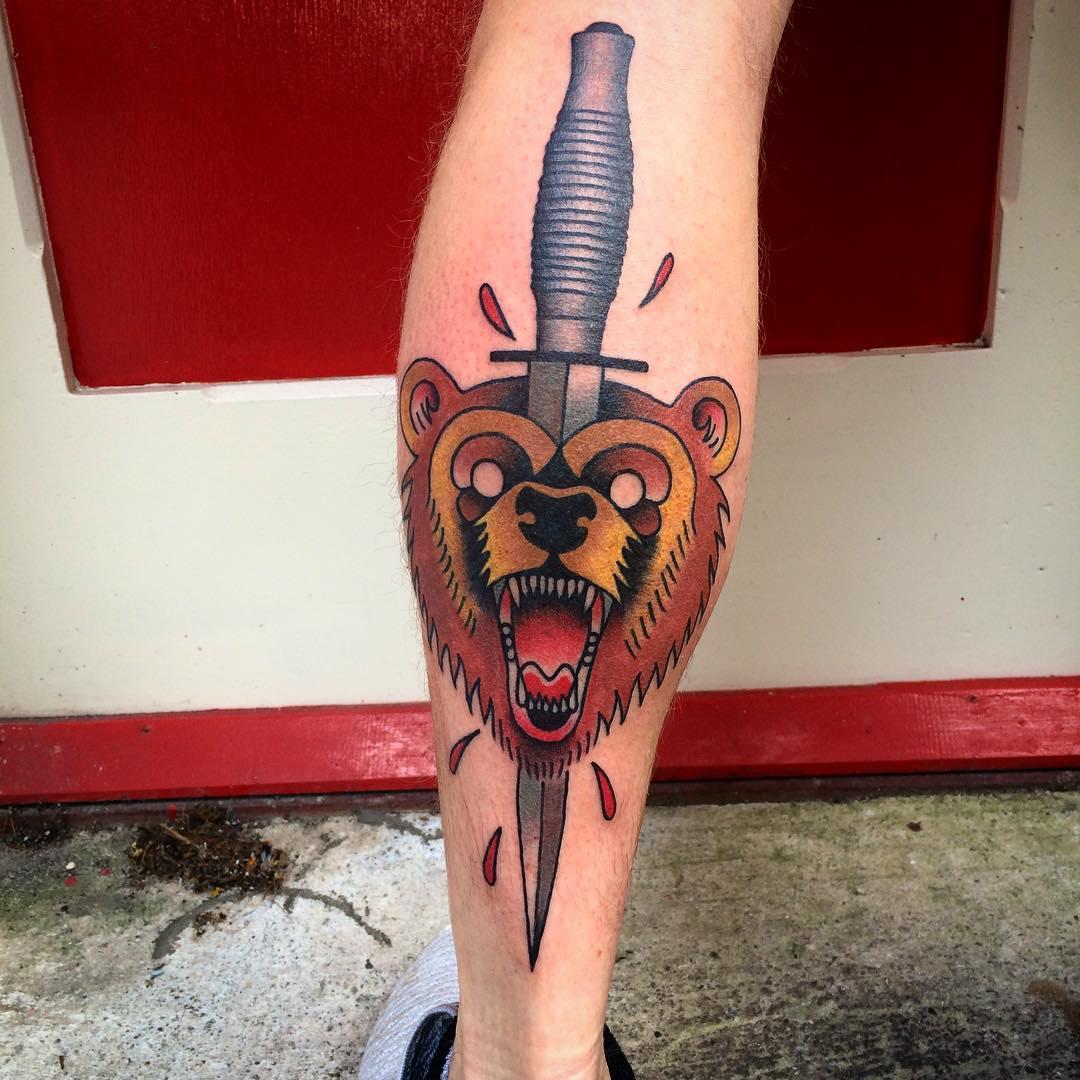 Bear Tattoo Design Art Looks So Colorful