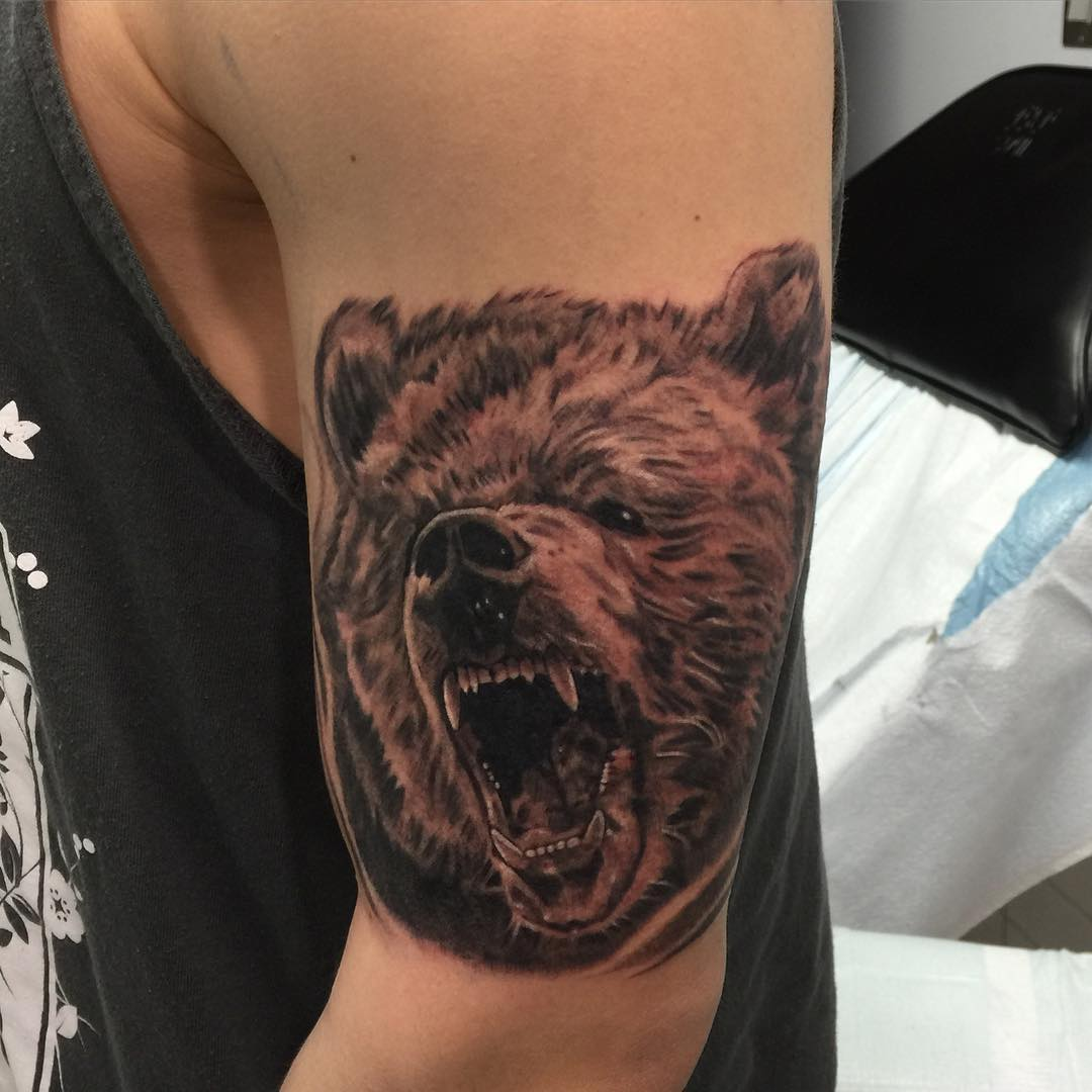 Black And Grey Bear Tattoo