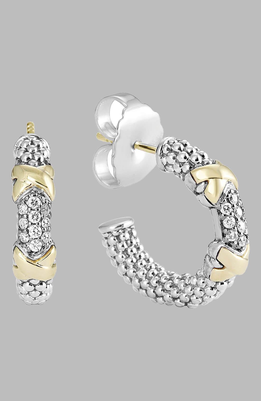lagos diamond lux diamond small hoop earrings 1