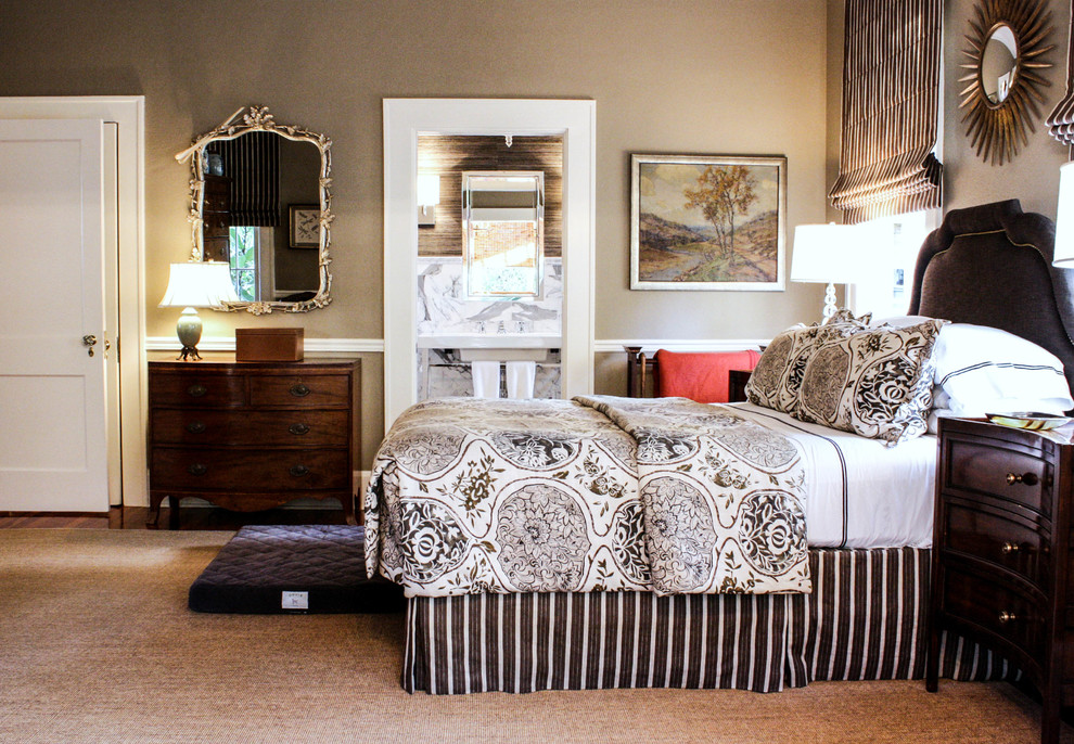 master bedroom is decorated with a mix of antiques
