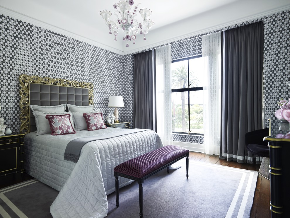 gray and purple bedroom design