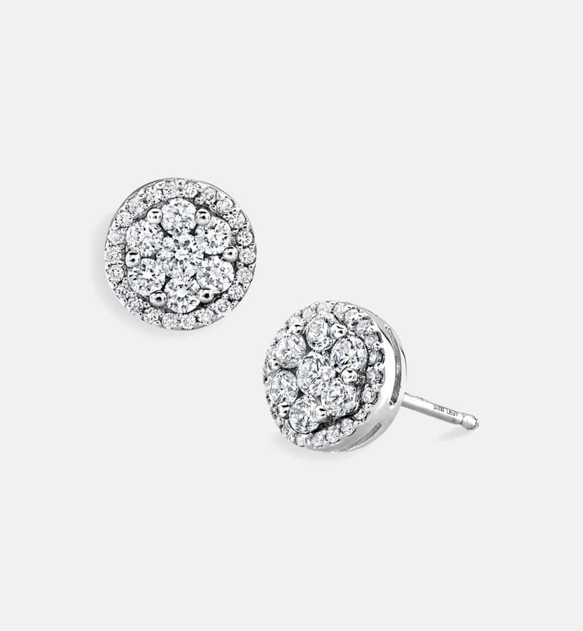 bony levy flower button diamond earrings 1