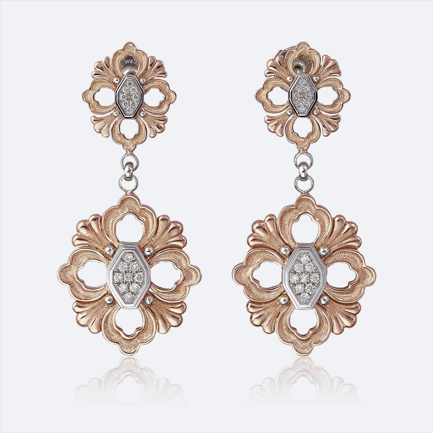 buccellati pendant earrings gold with diamonds 1