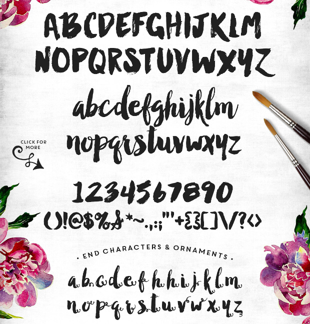 watercolor typography font