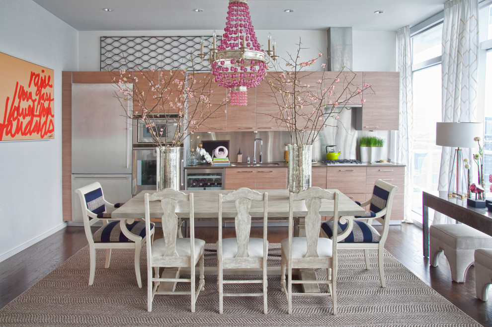 contemporary kitchen with pink chanlier