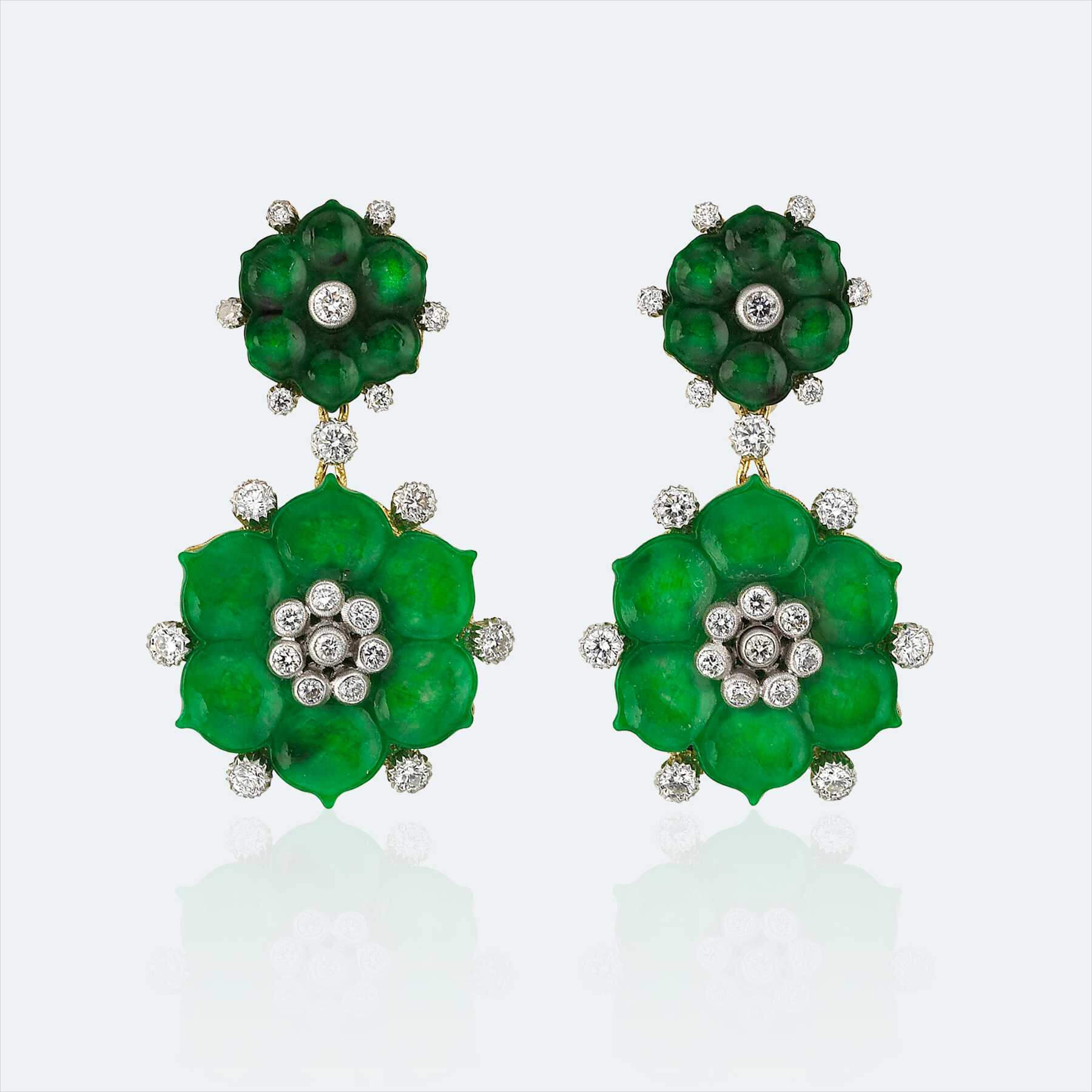 fiore verde pendant earrings 1
