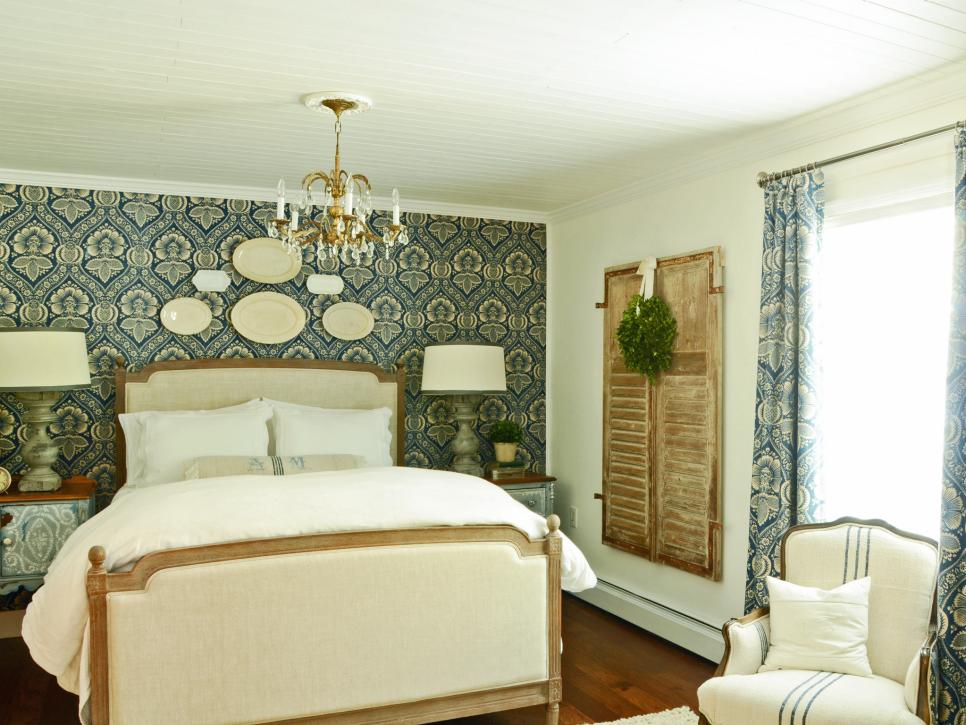 Elegant French Cottage Blue and White Bedroom