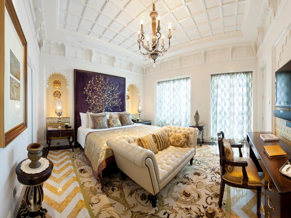 Majestic Gold and White Master Bedroom