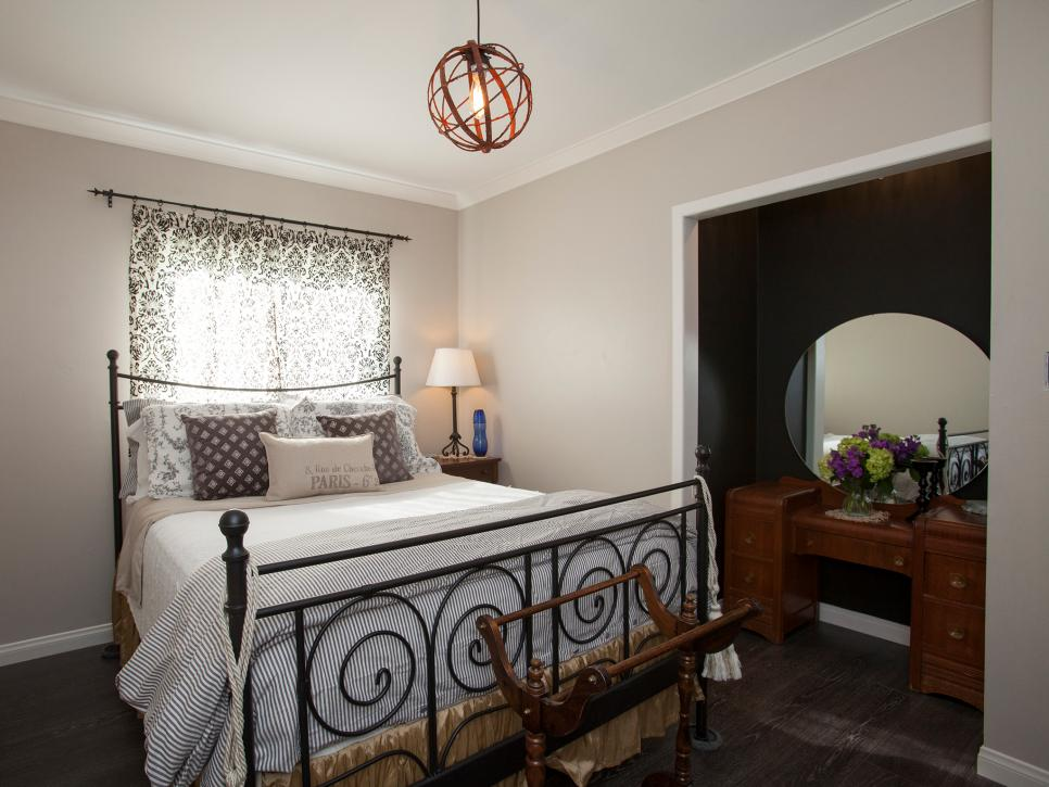 french country style bedroom with dresser nook