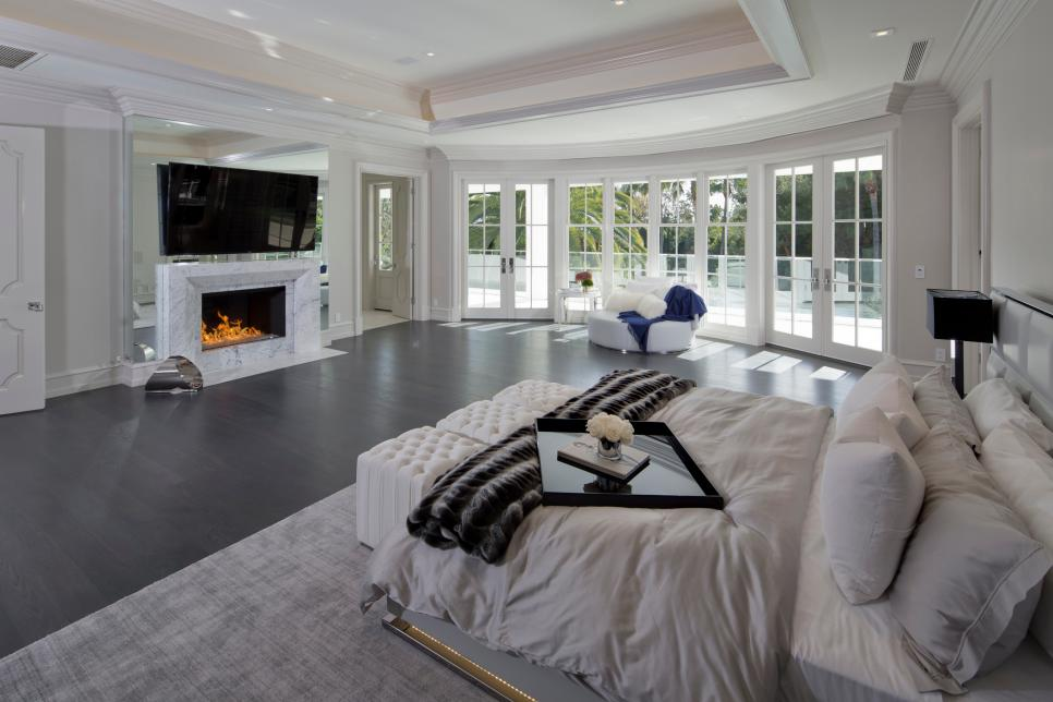 White Transitional Master Bedroom With French Doors
