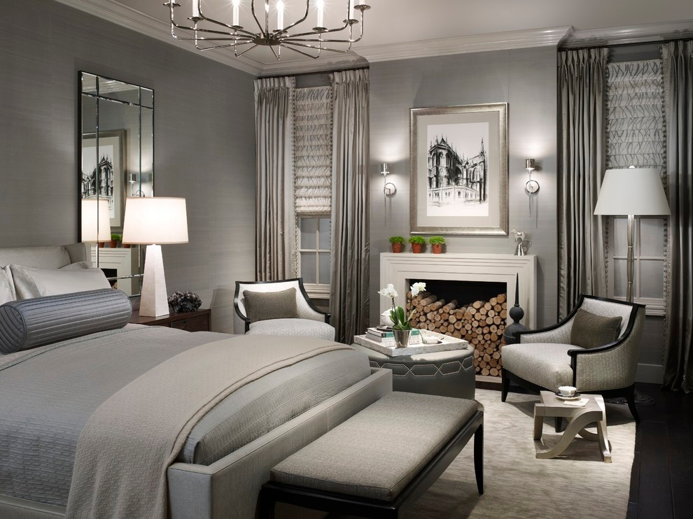 Grand gray transitional bedroom