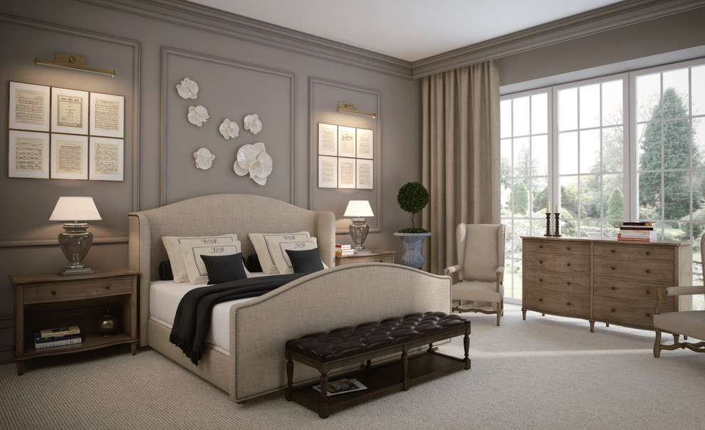 French Master Bedroom With Wooden Furniture