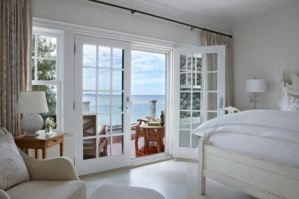Simple French Furniture in Beach style bedroom