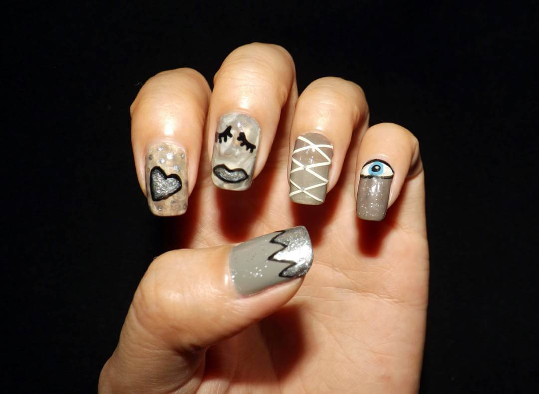 Eye Design for Gray Nails (1)
