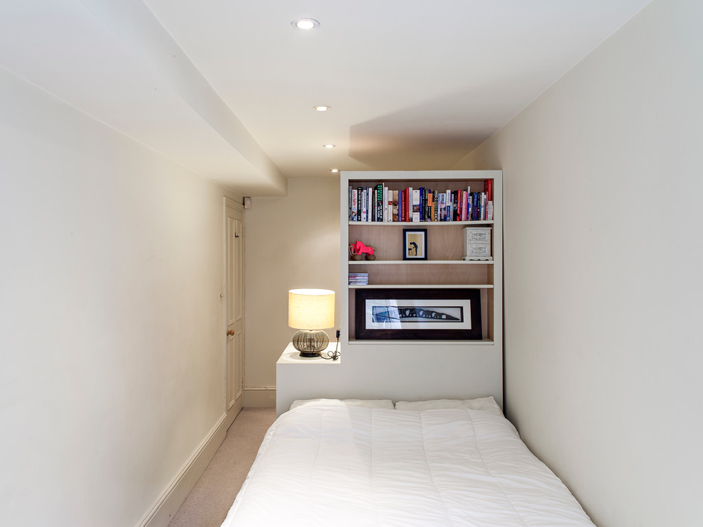 Cool White bedroom with Bookshelve
