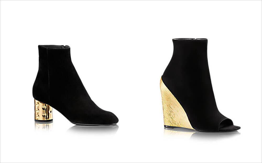 Louis Vuitton Goat Leather Golden Heel Ankle Boots