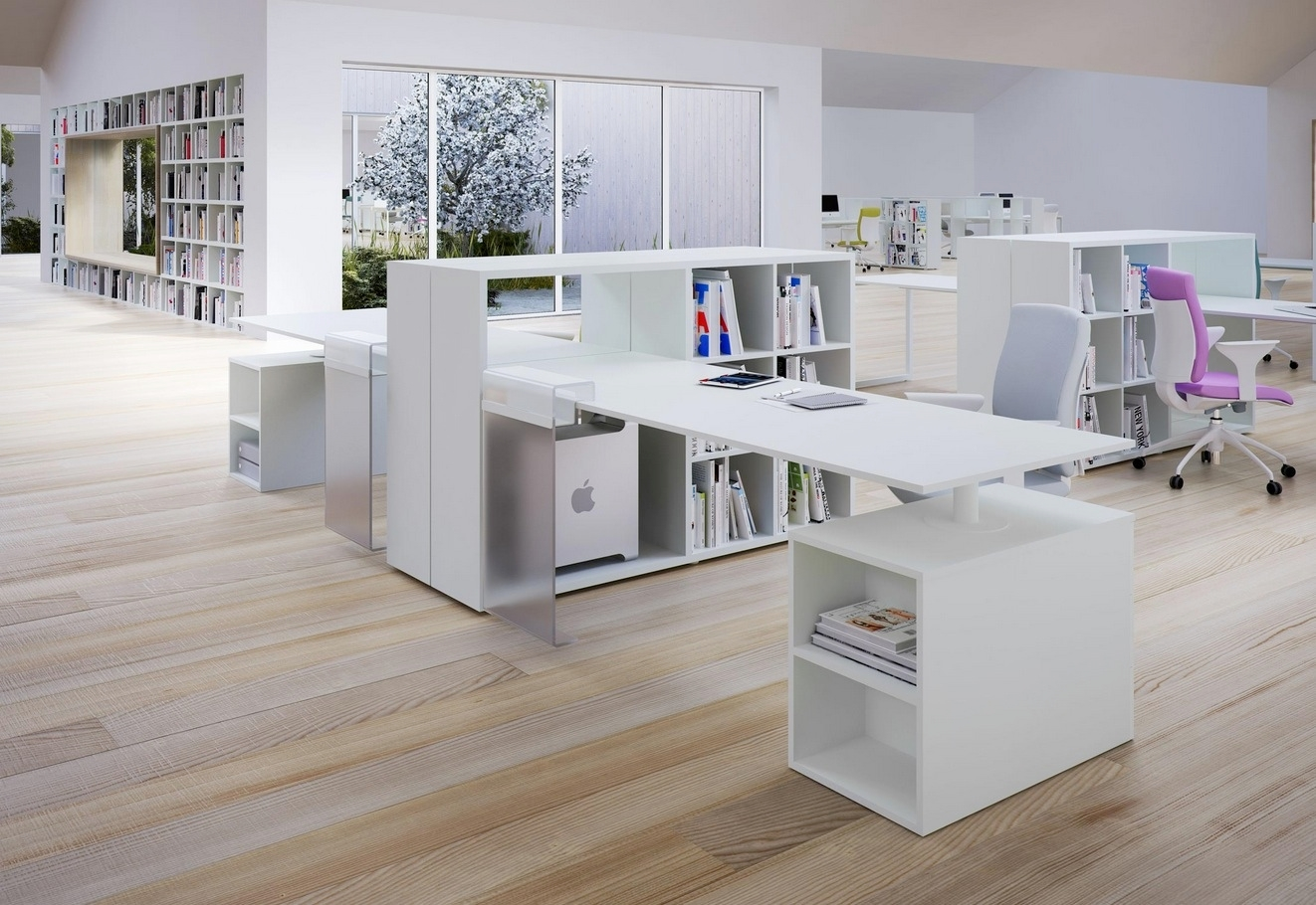 20 contemporary office desk designs decorating ideas for Modern office design ideas