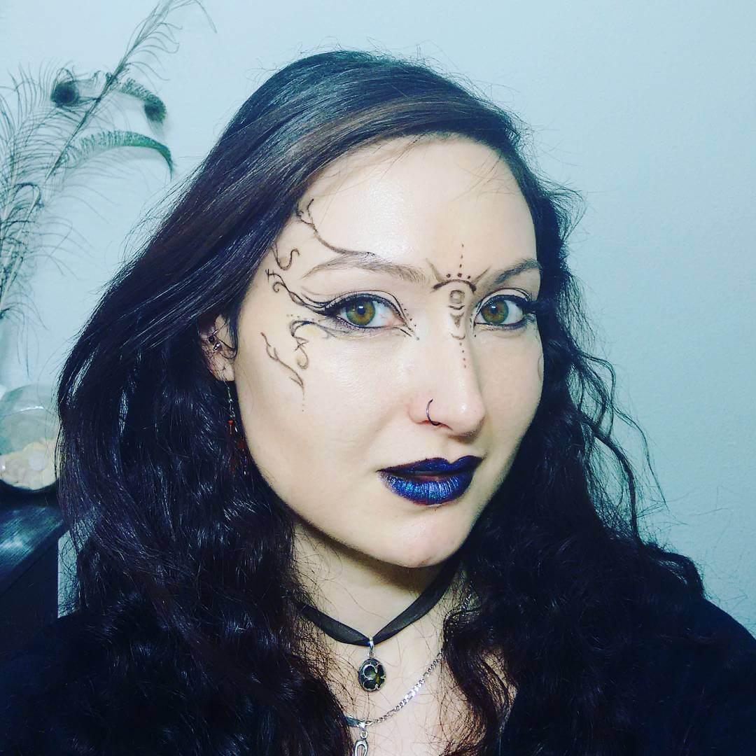 blue lips makeup for tribal festival