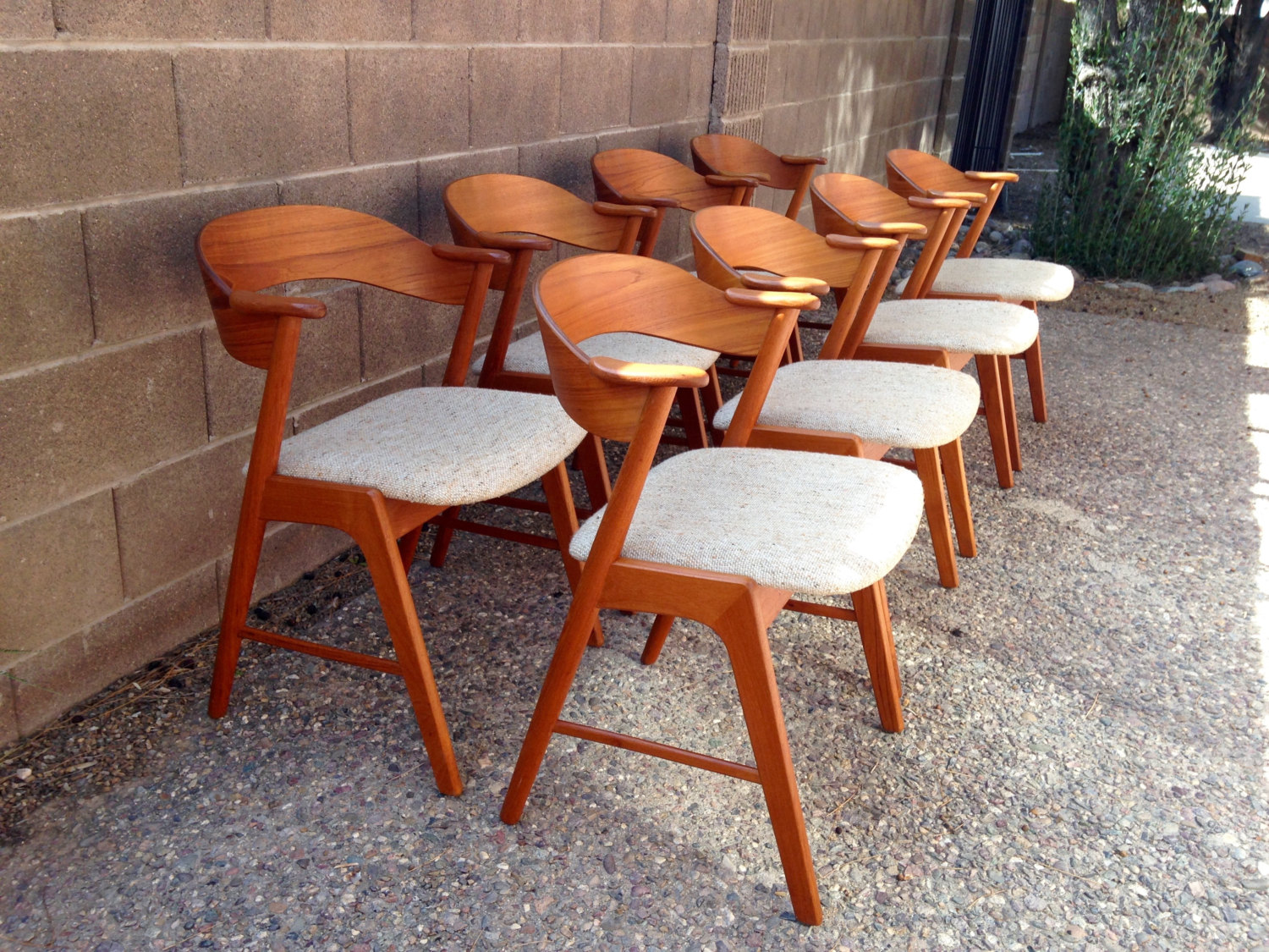 Danish modern walnut dining chairs - Set Of 8 Danish Modern Dining Chairs