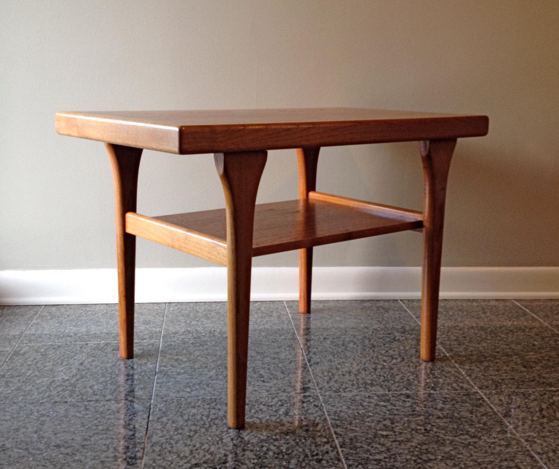 danish modern two tier side table
