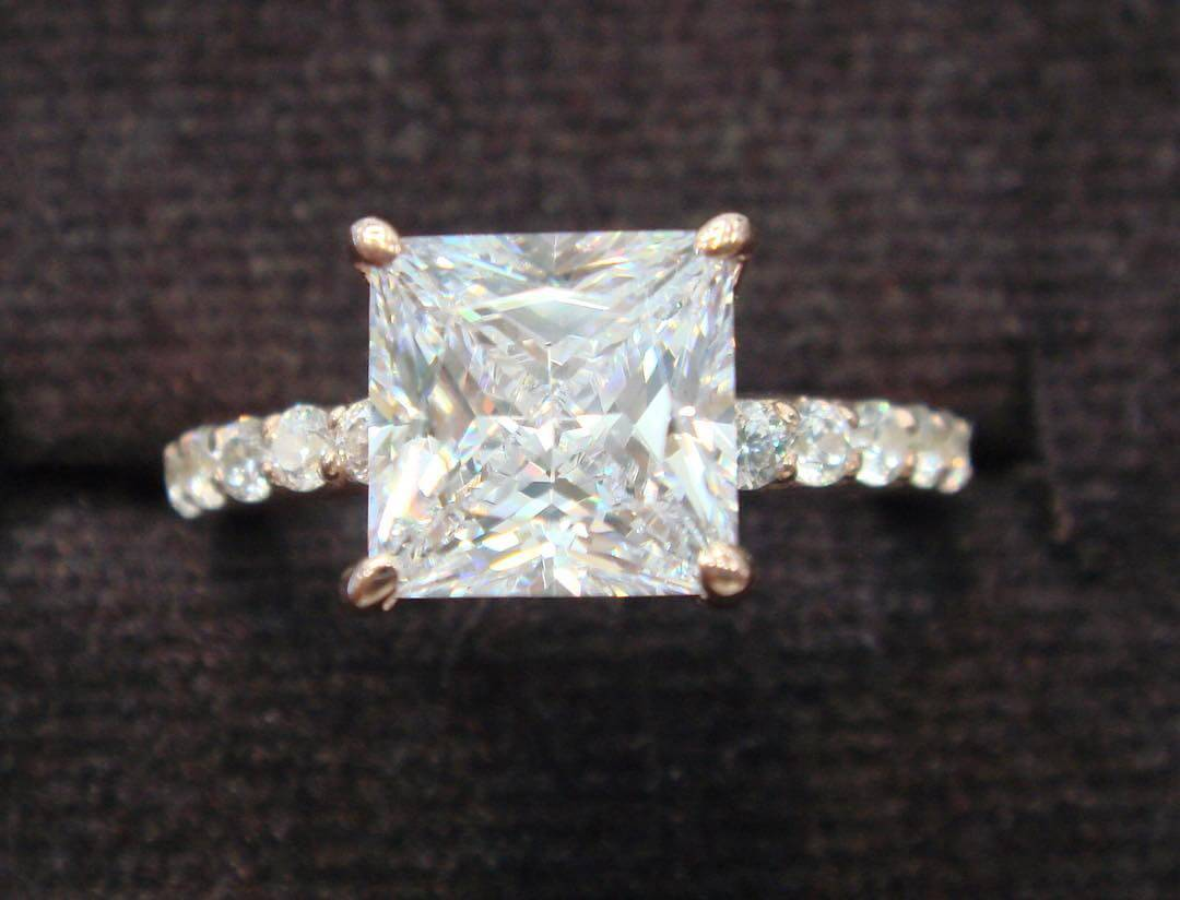 Pink Gold Princess Cut Engagement Ring