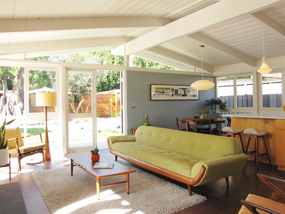 Mid-century living room with wooden Tea table